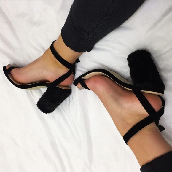 f439e0b806d JAYDE BARELY THERE FAUX FUR & SUEDE BLOCK HEELS
